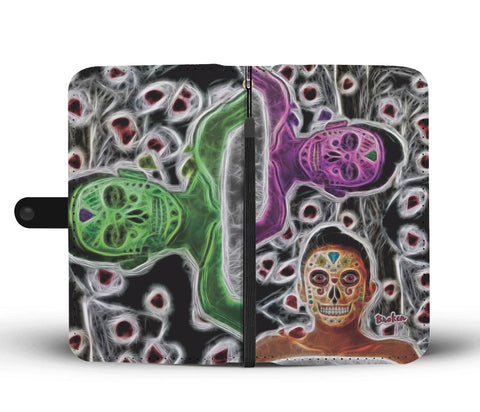 Broken Sugar Skulls Wallet Phone Case
