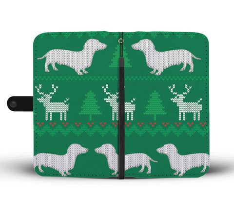 Ugly Christmas Sweater Wallet Phone Case with Dachshunds