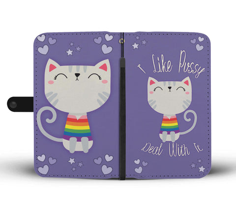 I Like Pussy Deal With It Wallet Phone Case for Cat Lovers