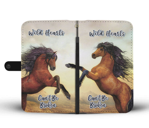 Wild Hearts Can't Be Broken Wallet Phone Case For Horse Lovers