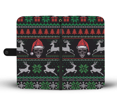 Ugly Christmas Santa Skull Black Wallet Phone Case