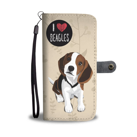 I Love Beagles Wallet Phone Case  for Lovers of Beagle Dogs