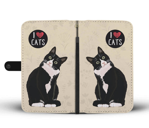 I Love Cats Wallet Phone Case for Cat Lovers