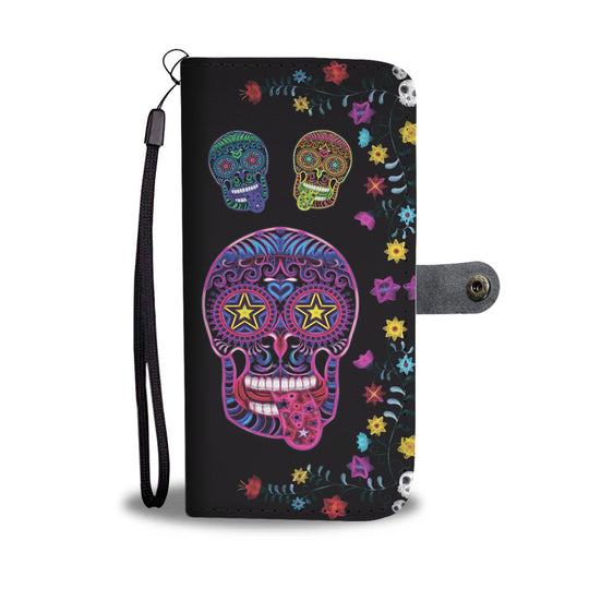 Sugar Skull Superstar Wallet Phone Case for Lovers of Skulls