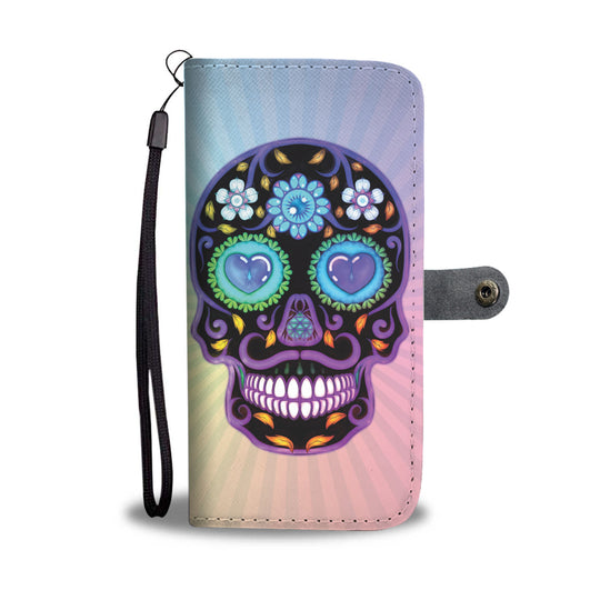 Sugar Skull Lover Wallet Phone Case for Lovers of Sugar Skulls