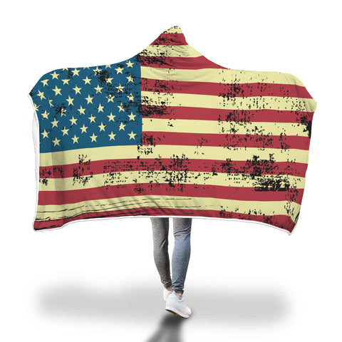 American Flag Hooded Blanket USA Patriotic United States