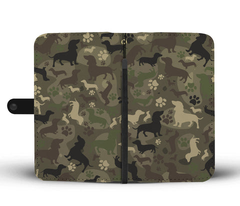 Dachshund Camo Wallet Phone Case for Lovers of Dachshunds