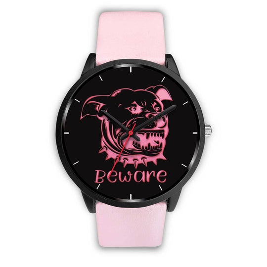 Beware of Pitbull Watch Pink