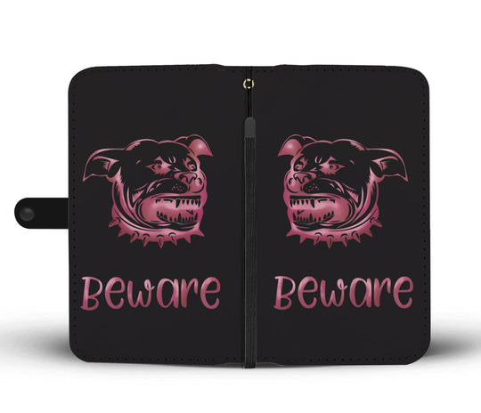 Beware of Pitbull Wallet Phone Case Pink