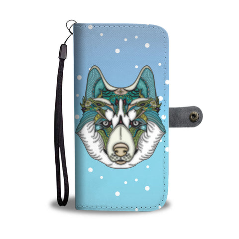 Friendly Husky Wallet Phone Case for Lovers of Huskies