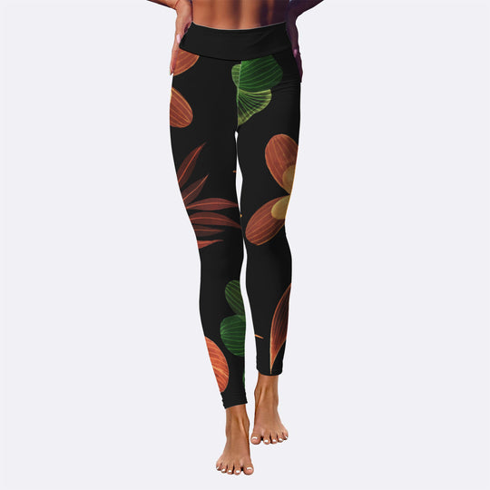 Leaves Black As Night Yoga Leggings
