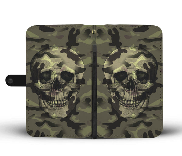 Camo Skull Wallet Phone Case for Lovers of Skulls and Camouflage