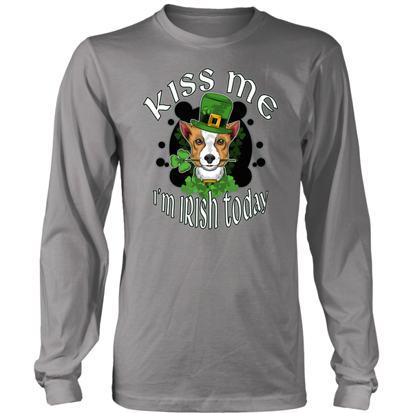 Kiss Me I'm Irish Today District Long Sleeve Shirt with Corgi for Men & Women
