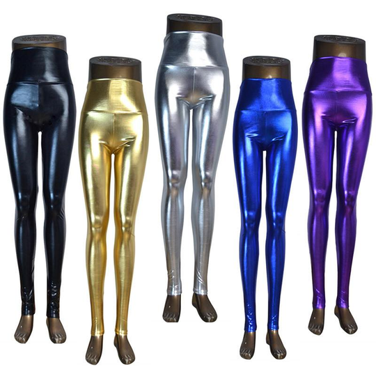 Shiny Wet Look Metallic Leggings - 5 Colors