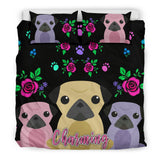 Charming Pugs Bedding Set Cute Pug Dogs