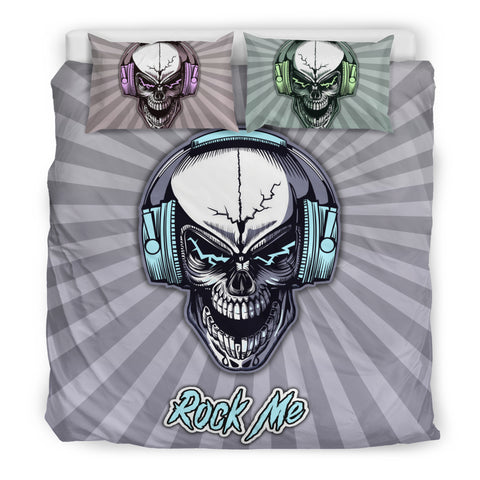 Rock Me Skull Headphones Bedding Set for Music Freaks