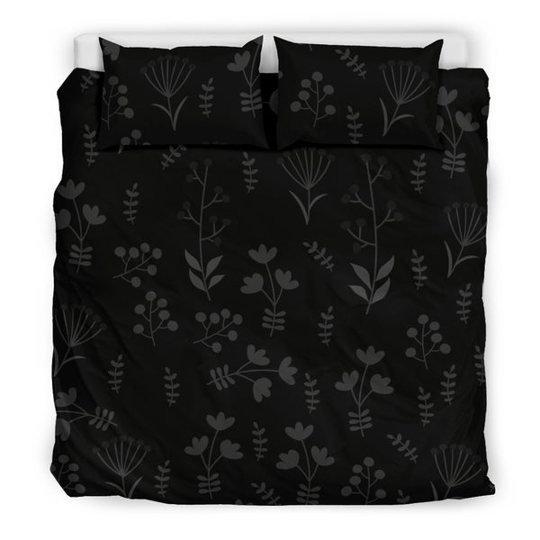 Charcoal Floral Bedding Set