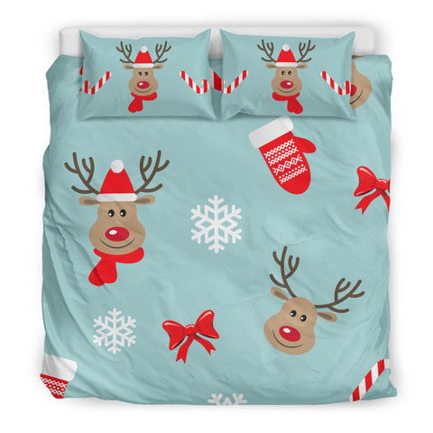 Christmas Deers Bedding Set with Candy Canes
