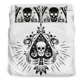 Skull Tattoo Design White Bedding Set