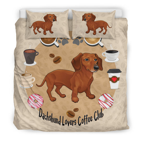 Dachshund Lovers Coffee Club Bedding Set for Lovers of Dachshunds