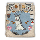 Husky Lovers Coffee Club Bedding Set for Lovers of Huskies