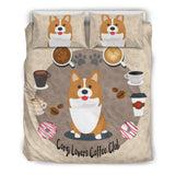 Corgi Lovers Coffee Club Bedding Set with Corgis