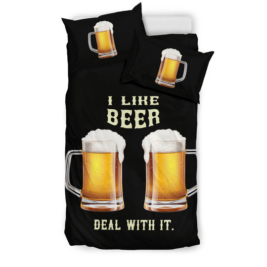 I Like Beer Deal With It Bedding Set