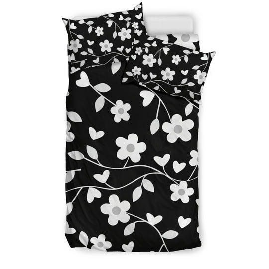 Neutral Floral Black White and Gray Bedding Set