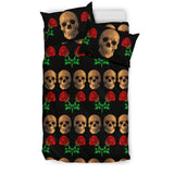 Roses and Skulls Bedding Set for Skull Lovers