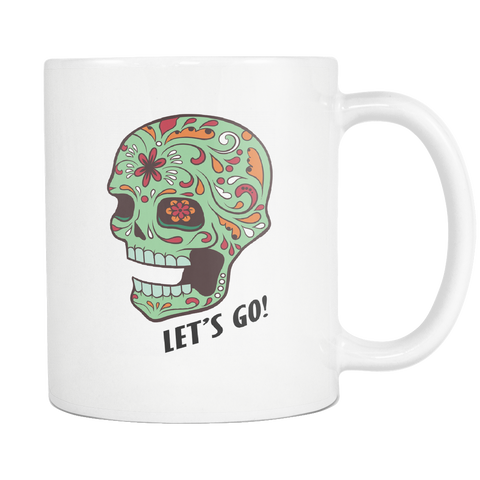 Let's Go Sugar Skull Mugs Green or Purple