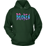 Broken Unisex Hoodie Grunge Meets Watercolor