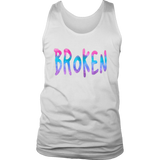 Broken District Men's Tank Top Grunge Meets Watercolor