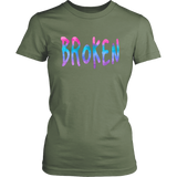 Broken District Women's Tshirt Grunge Meets Watercolor