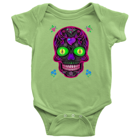 Wicked Skull Baby Onsie for Lovers of Sugar Skulls