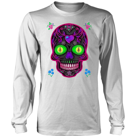 Wicked Skull District Long Sleeve Shirt for Lovers of Sugar Skulls