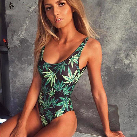 Weed Leaf Swimsuit