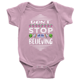 Don't Stop Believing in Aliens Unicorns Skulls Onesie Baby Bodysuit