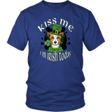 Kiss Me I'm Irish Today District Unisex T-Shirt with Corgi for Men & Women
