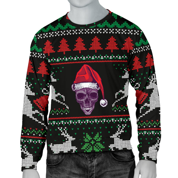 Ugly Christmas Santa Skull Black Men's Sweater