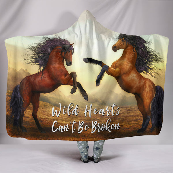 Wild Hearts Can't Be Broken Hooded Blanket Horses for Horse Lovers