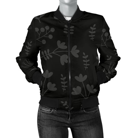 Charcoal Floral Women's Bomber Jacket