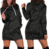 Dark Charcoal Sugar Skull Women's Hoodie Dress