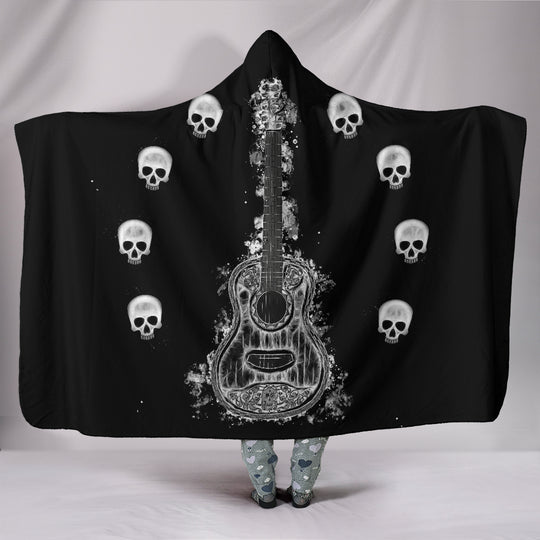 Guitar & Skulls Hooded Blanket