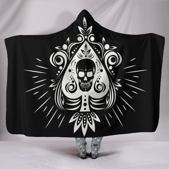 Skull Tattoo Design Black Hooded Blanket