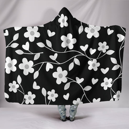 Neutral Floral Black White and Gray Hooded Blanket