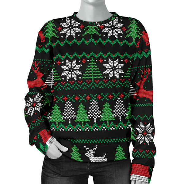 Ugly Christmas Red Green Black Women's Sweater