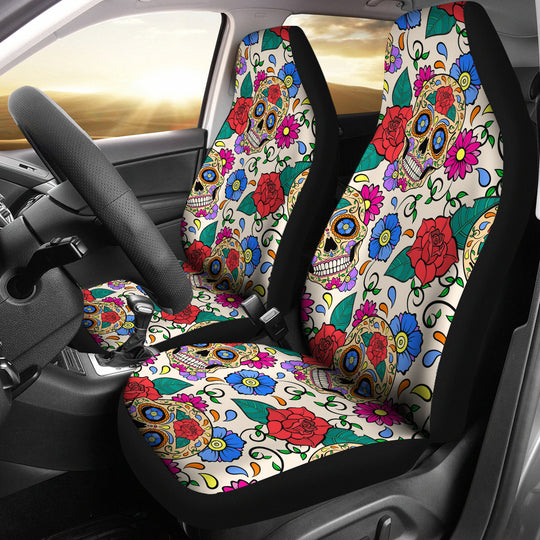 Sugar Skulls and Flowers Car Seat Covers