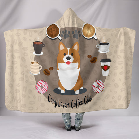 Corgi Lovers Coffee Club Hooded Blanket