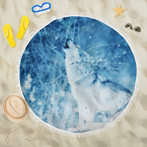 Wolf in Snow Beach Blanket