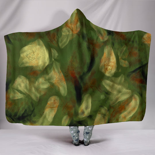 Abstract Camo Hidden Skulls Hooded Blanket